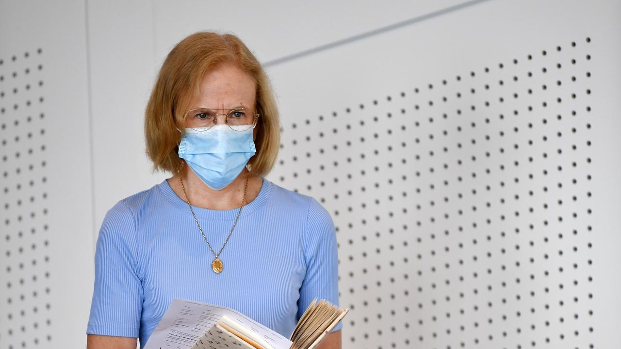 Queensland's Chief Health Officer Dr Jeannette Young wearing a face mask before giving a briefing on the second day of a Greater Brisbane COVID-19 lockdown. Photo: Dan Peled.