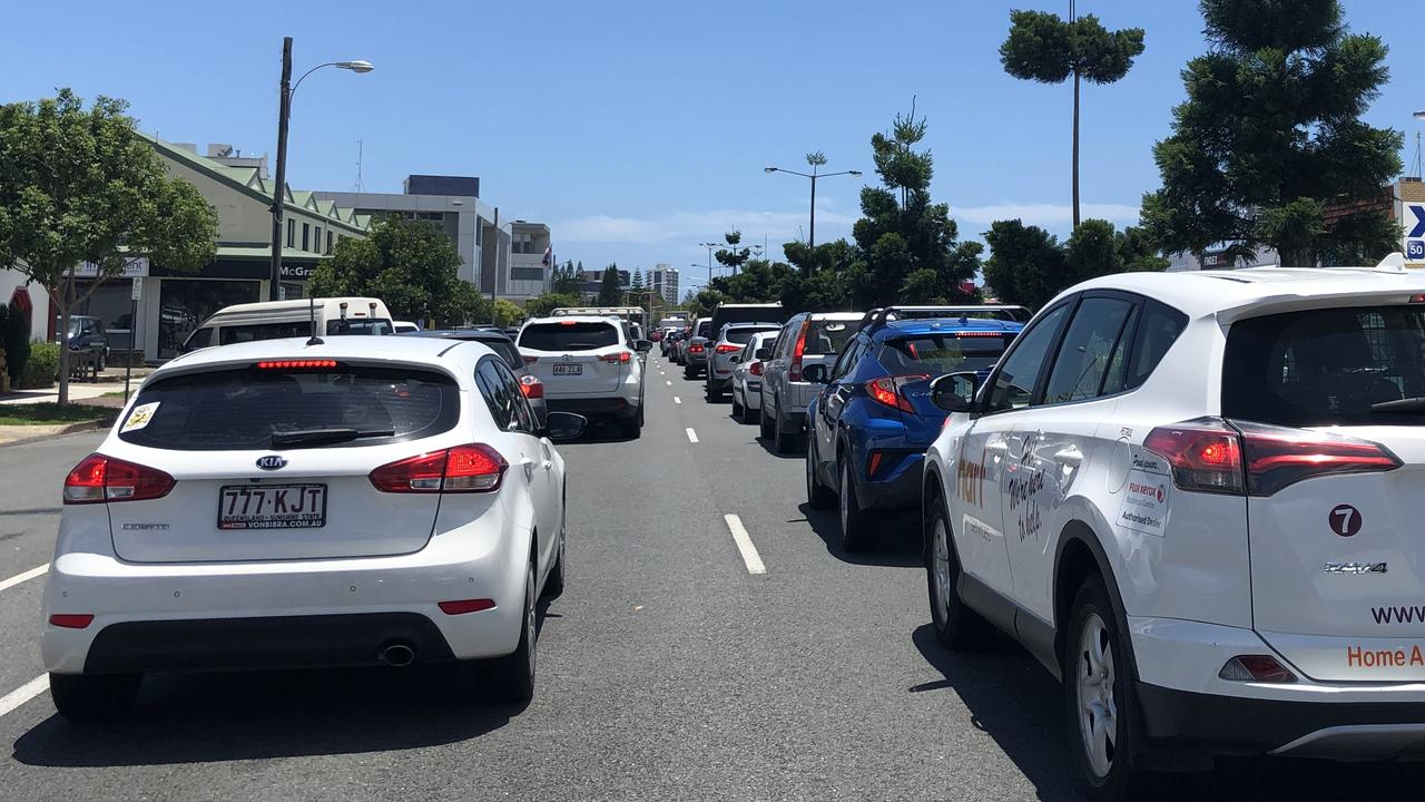Vehicles on Wharf St at Tweed Heads lining up to get through the border. Picture: Jessica Lamb