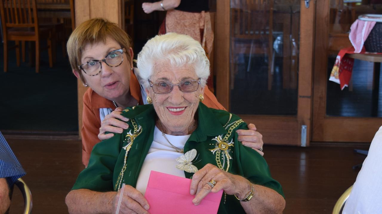 Grafton Probus president-elect Paula Payne makes a presentation to Monica Jeffs for her 90th birthday.