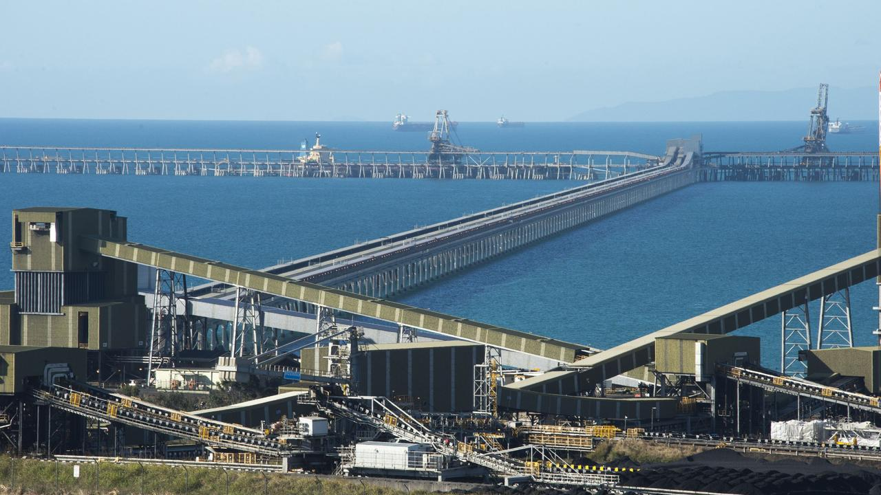 Dalrymple Bay Coal Terminal coal stock yard and loading jetty. Picture: Daryl Wright