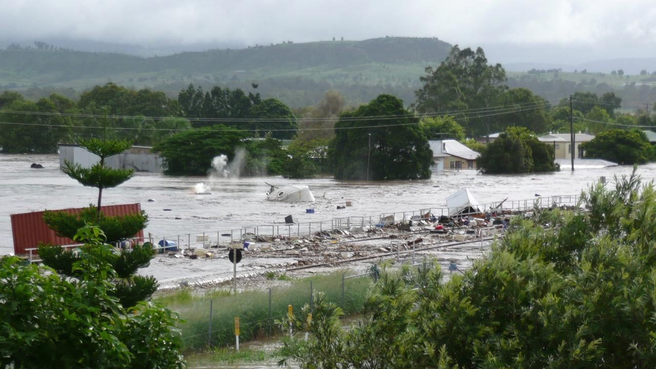 Photograph from witnesses in the Lockyer Valley captured on their camera presented at the Flood Inquiry on Monday July 20th, 2015. Pictures: Jack Tran / The Courier Mail