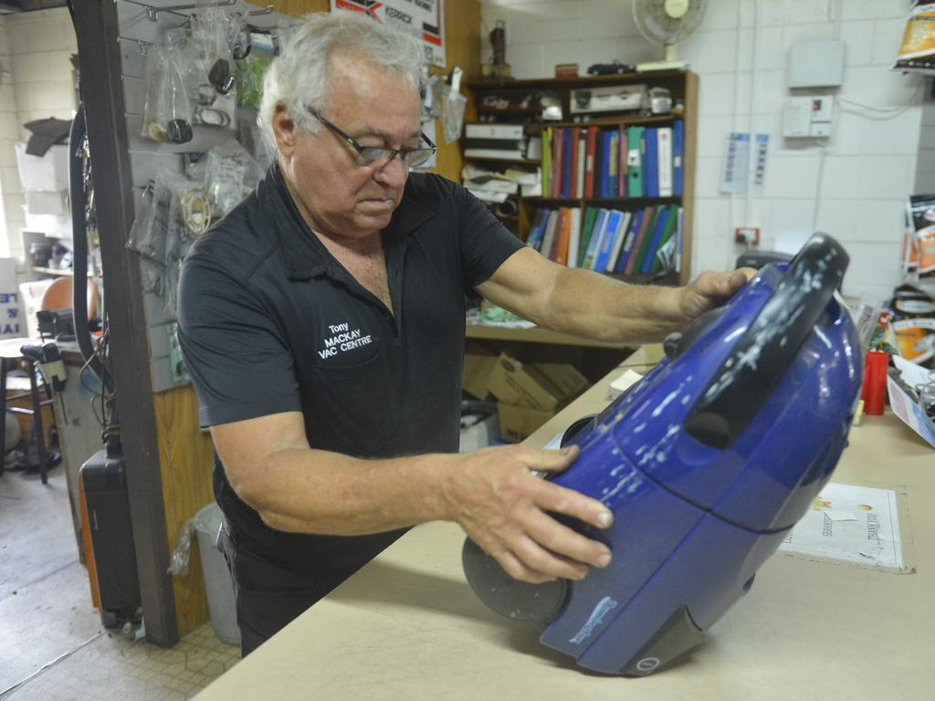 Tony Sands's workshop at the Mackay Vac Centre is like stepping back through time. Photo: Callum Dick