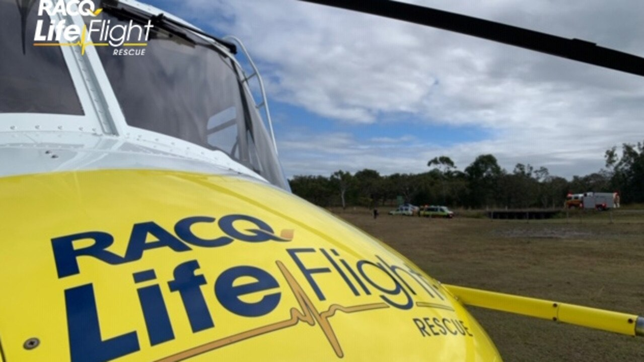 RACQ Lifeflight assisted in the search for a woman missing in bushland south west of Maryborough. Photo: Contributed.