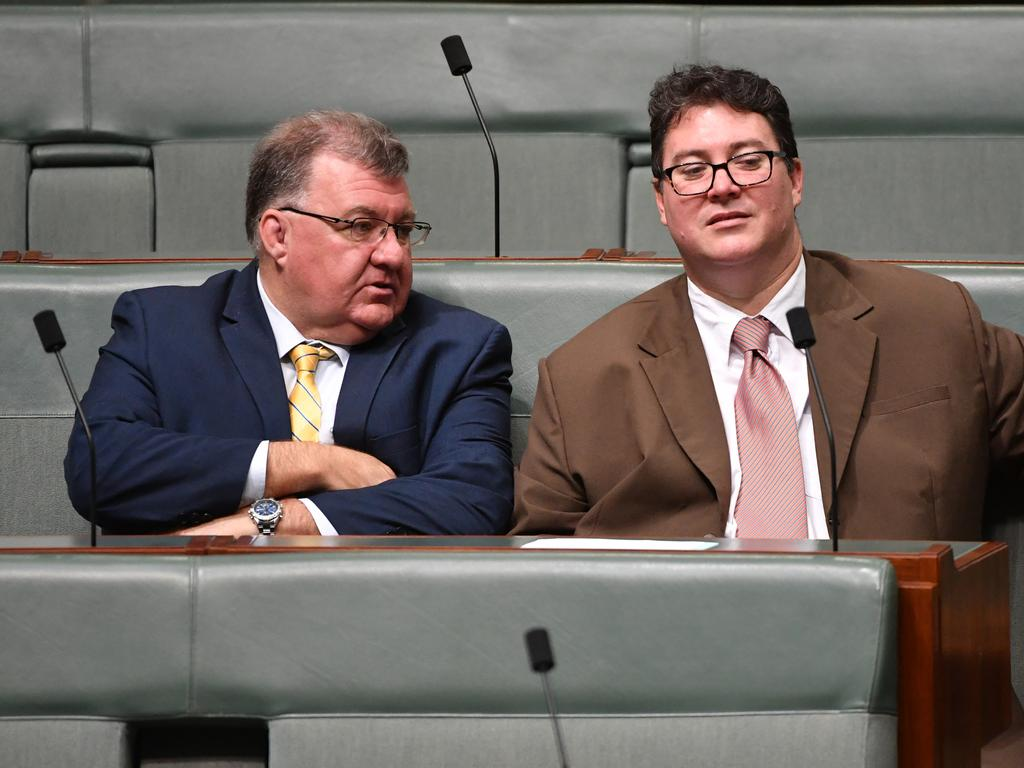 Labor is calling for Craig Kelly (left) and George Christensen to be censored for peddling conspiracy theories over the Capitol Hill attack. Picture: AAP Image / Mick Tsikas