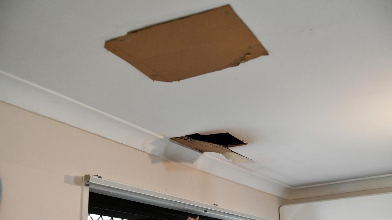 Damage to plaster ceilings from water ingress through the roof is awaiting repair in a townhouse at Parkwood Villas in Kirwan