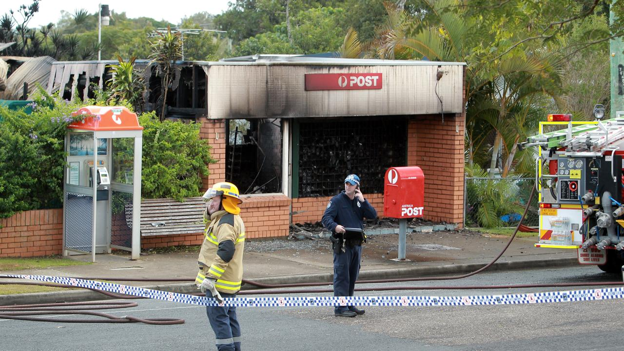 Post Office destroyed by fire at Dunwich, North Stradbroke Island. Picture: Mark Cranitch.