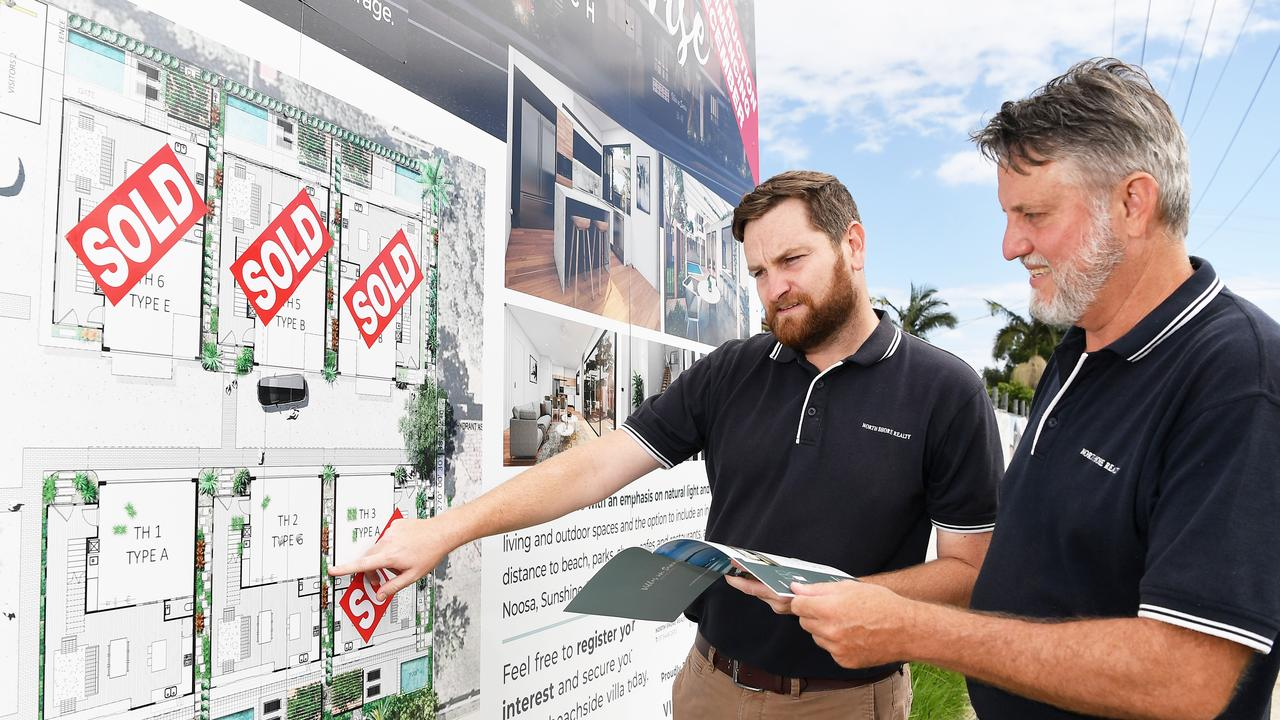 Ben Thompson and Keith Blanchard of North Shore Realty on site of $8 million 9 unit apartment site, Sunrise Ave Coolum Beach. Picture: Patrick Woods.