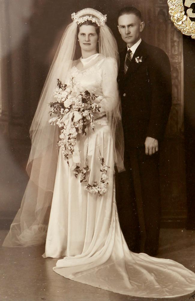 Dexter and wife Gladys pictured on their wedding day in 1942.