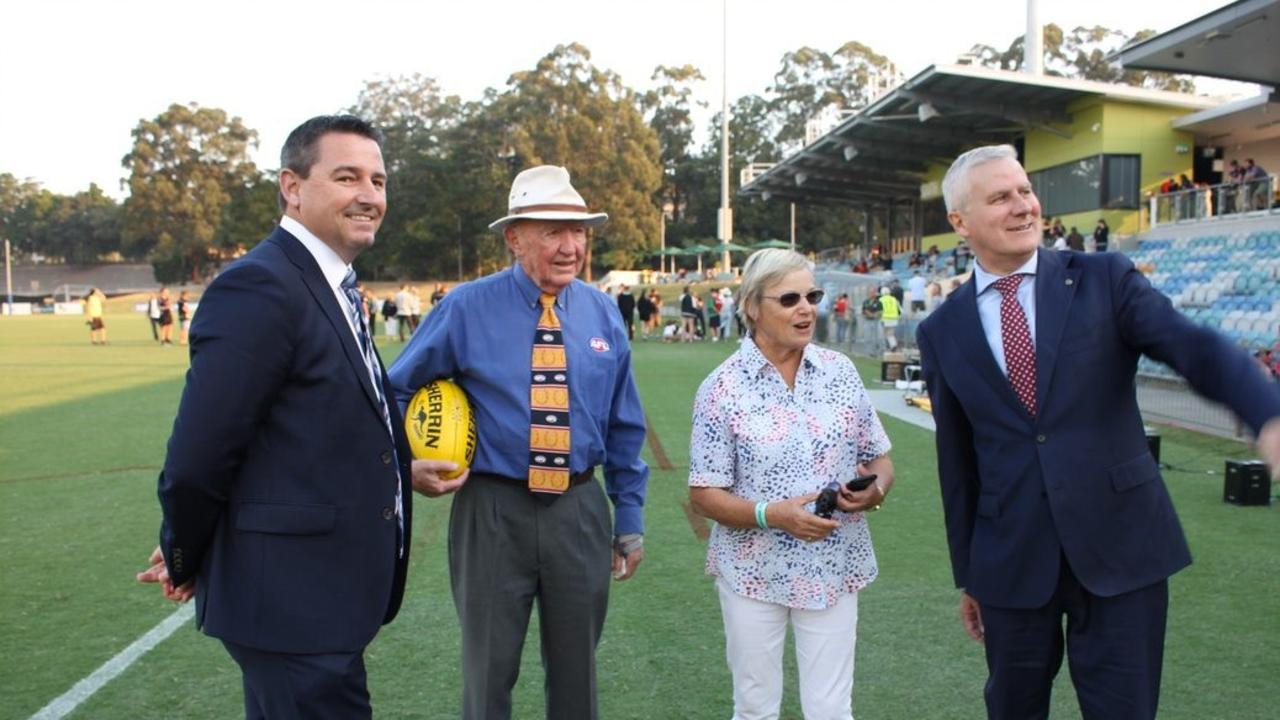 Federal Member for Cowper Pat Conaghan and Deputy Prime Minister Michael McCormack at the opening of new grandstands at the Coffs Harbour International Stadium.
