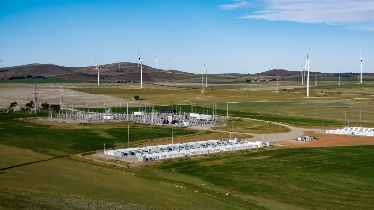 The Hornsdale Power Reserve big battery at Jamestown, South Australia. Owned by Neoen, the batteries are supplied by Tesla