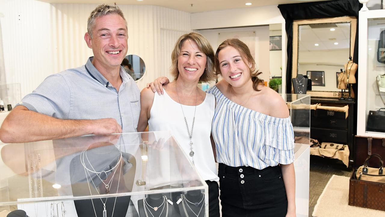 Owners Jaemes, Rebecca and daughter Taylah Collingwood have moved up from South Australia to start Makers Mark Jewellery in Noosaville. Picture: Patrick Woods.