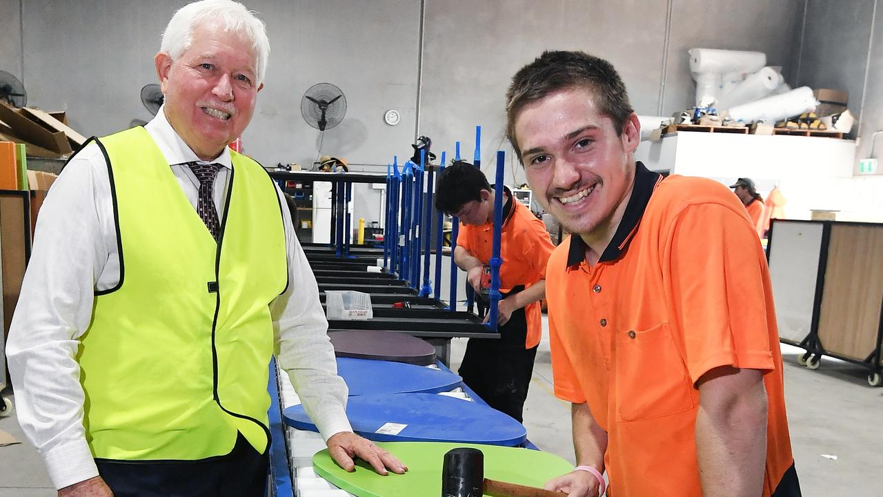 BFX Furniture owner Denis Moore employs over 180 Coast locals and he is committed to continue the rapid growth at his Yandina location. Pictured with staff member Noah Brown (right). Photo: Patrick Woods.