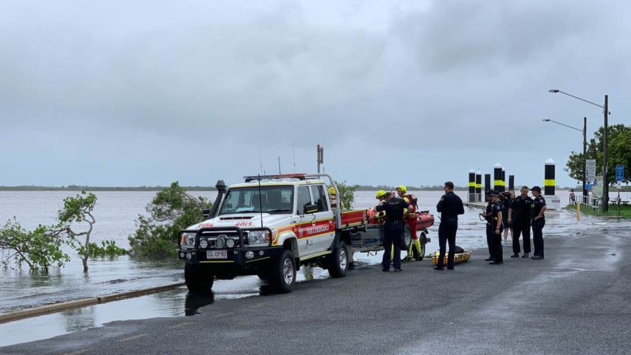 Emergency services at the River St boat ramp. Picture: Tara Miko