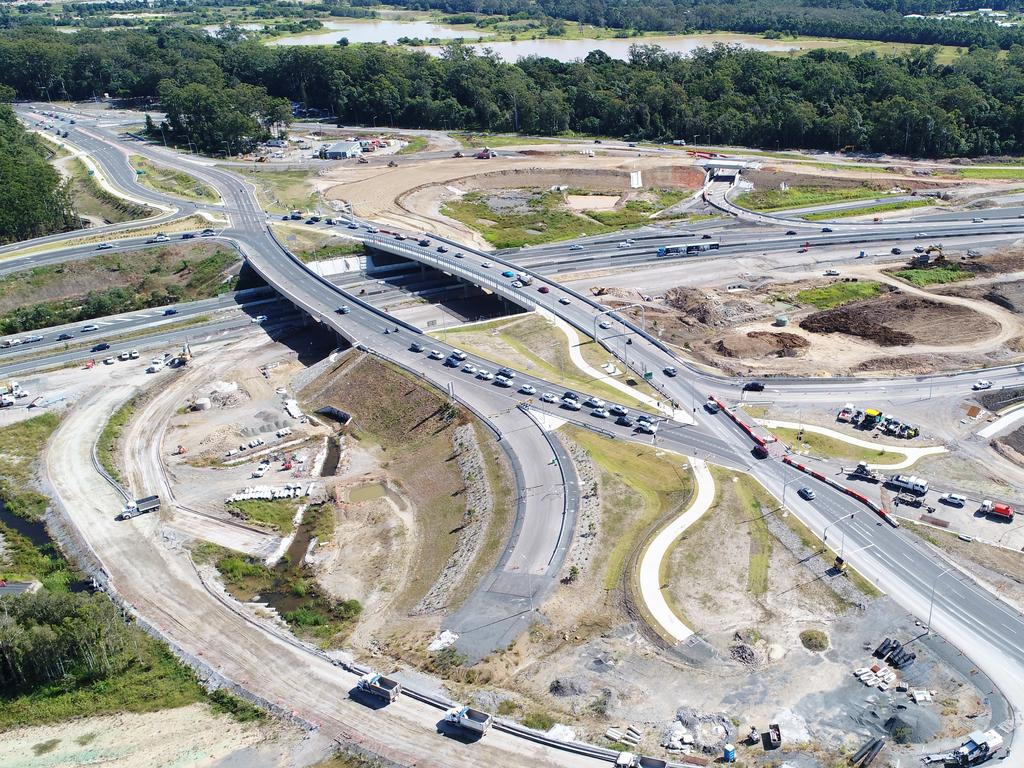 Aerial shots of the ongoing Bruce Highway upgrade of the Caloundra Road overpass, taken in May 2020. Picture: Patrick Woods