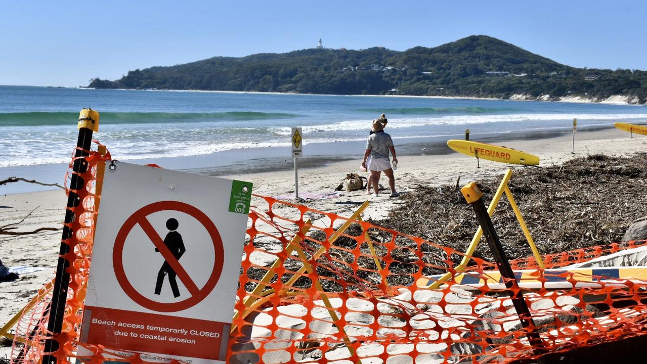 Byron Bay's Main beach and Clarkes beach showing the effects of coastal erosion after high tide on Thursday, August 6.