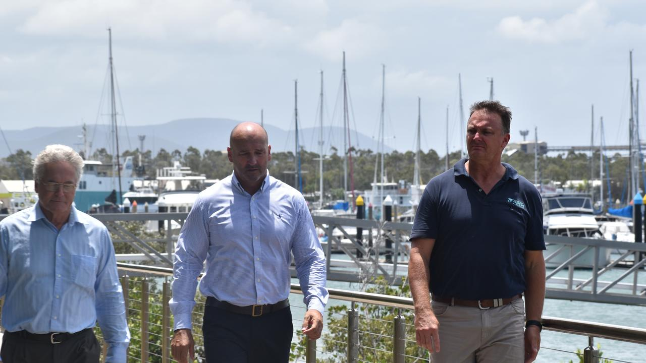 Neil Moran, Craig Walker and Grant Cooper. Gladstone Ports Corporation have announced a partnership with the Queensland Cruising Yacht Club on January 13 at the Gladstone Marina. Picture: Liana Walker
