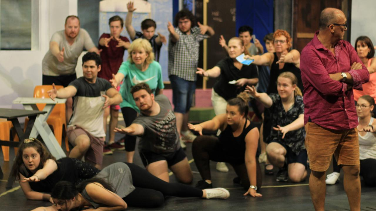 Bundaberg Playhouse Theatre's Mamma Mia cast in action during rehearsals.