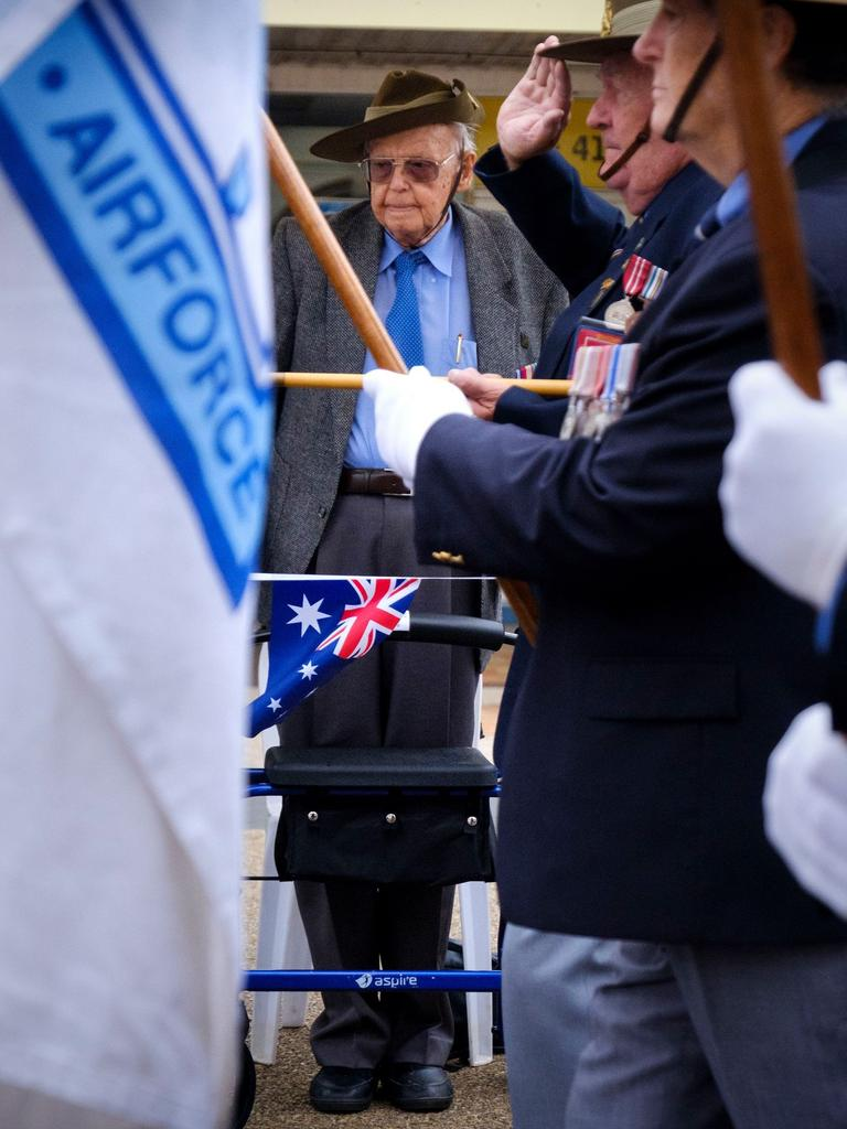 Herbert Woodward taking the salute during the Bundaberg 2019 Anzac Day parade.
