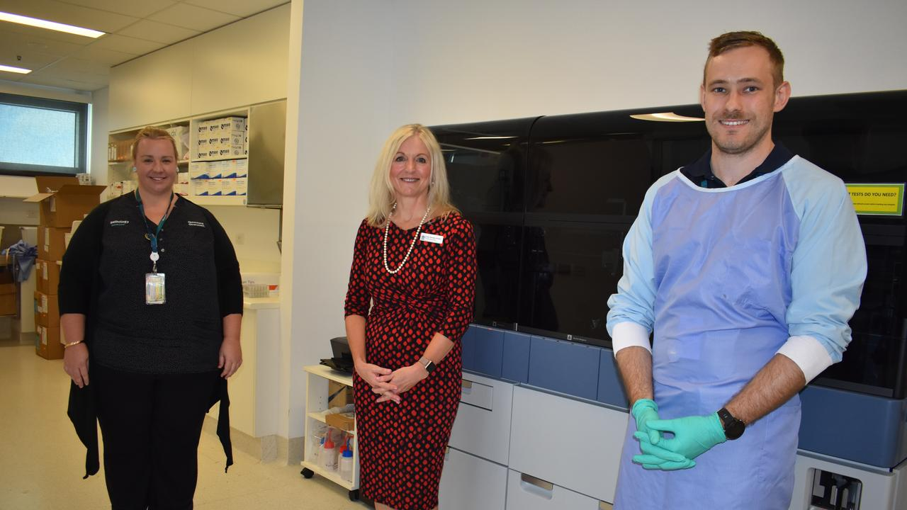 Supervising scientist and laboratory manager at Mackay Base Hospital Penny Galletly, Mackay Hospital and Health Service chief executive Lisa Davies Jones and senior scientist Todd Cooper. Picture: Melanie Whiting
