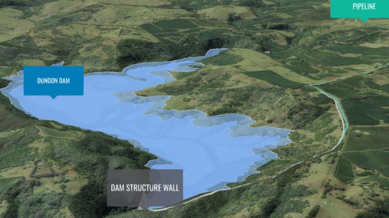 A 3D version of what a possible Dunoon Dam would look like, available from the Rous County Council website.