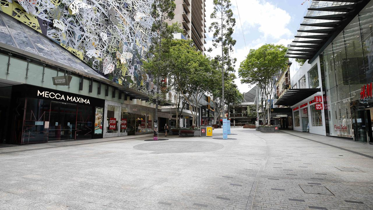 Brisbane's lockdown turned the CBD into a ghost town. Tourism leaders fear further pain if states don't form a united approach to the coronavirus pandemic. Picture: Josh Woning.