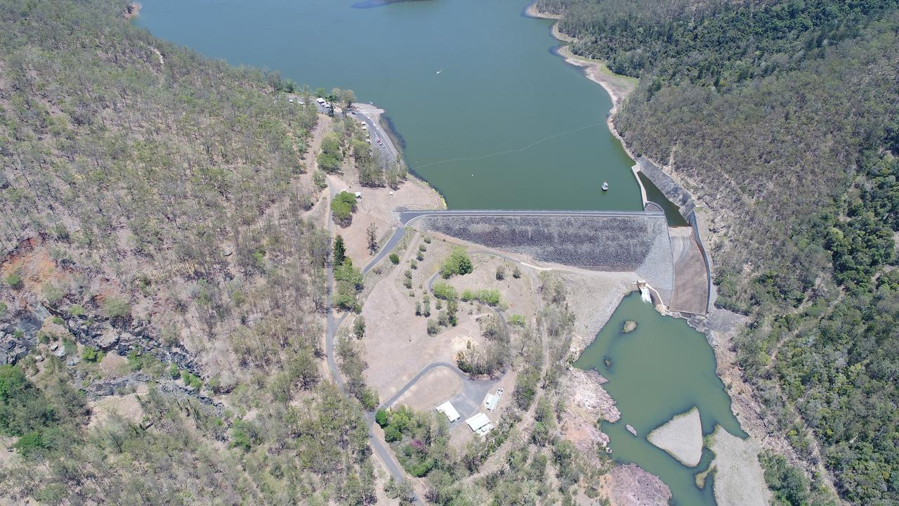 Aerial View of Borumba Dam where water sports, camping and fishing attract plenty of tourists each year.