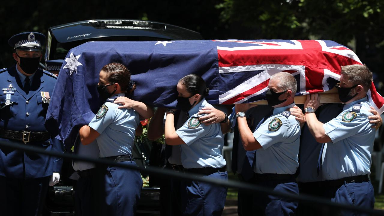 Officers act as pallbearers at the funeral of Kelly Forster. Picture: NCA NewsWire / Damian Shaw