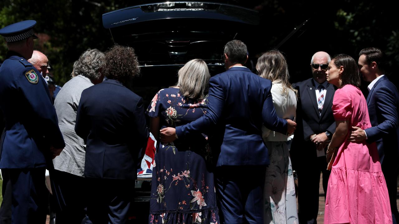Family and friends farewell Kelly Foster. Picture: NCA NewsWire / Damian Shaw