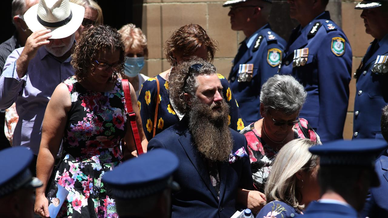 Family and friends of Kelly Foster leave the church at the Police funeral for Senior Constable Kelly Foster. Picture: NCA NewsWire / Damian Shaw
