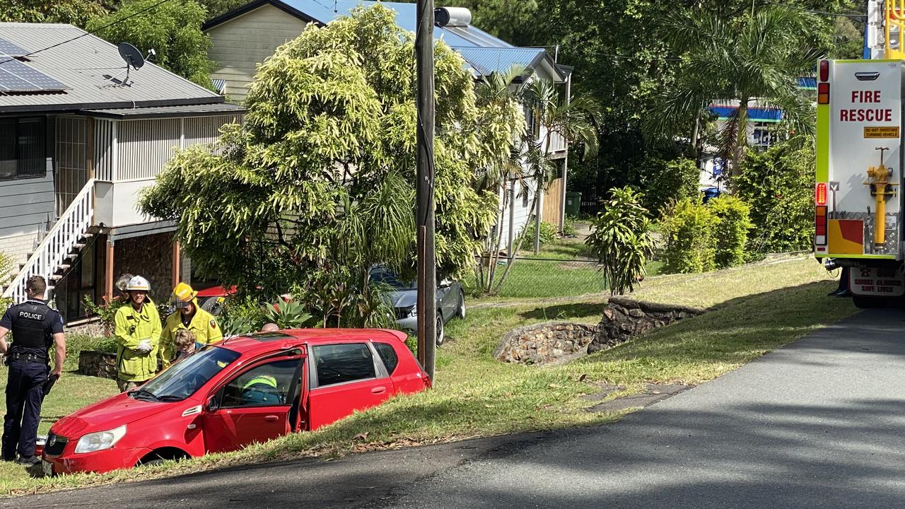 A woman in her 70s was treated by paramedics after a single car crash on Nambour Connection Rd.