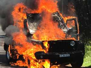 Narrow escape as Jeep bursts into flames