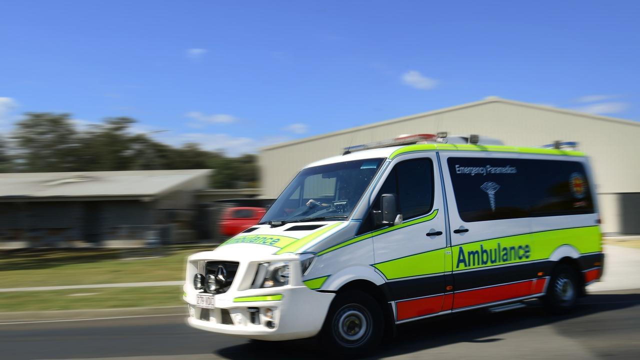 Paramedics transported a patient to Ipswich Hospital following a crash in the CBD.