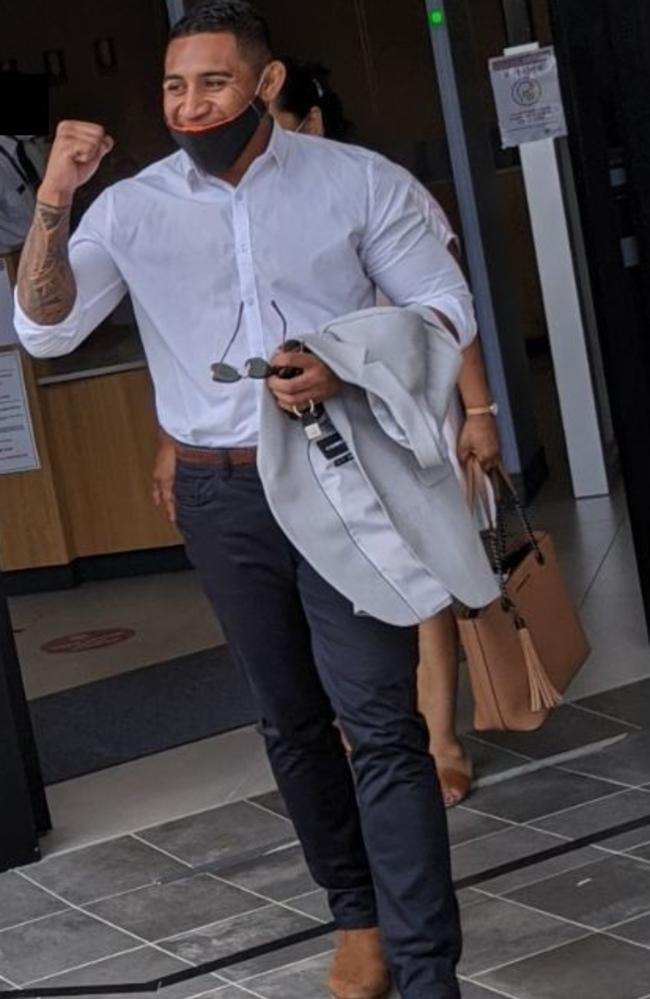 Beenleigh man Tamafaiga Nick Kepu pumps his fist upon being given immediate parole in Beenleigh Magistrates Court on Tuesday. Picture: Alex Treacy