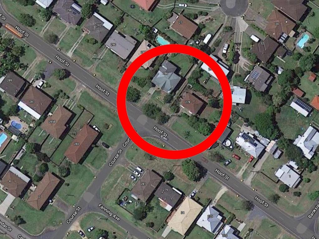 The location of where a small bomb exploded on Wednesday morning in the Westlawn area of Grafton, NSW.