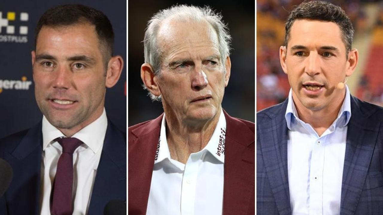 Wayne Bennett (centre) could eventually be replaced by Cameron Smith (left) or Billy Slater.