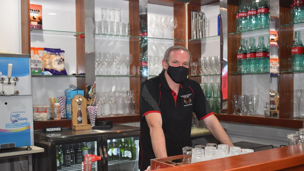 Steve Purcell behind the bar at Helen's Haven.