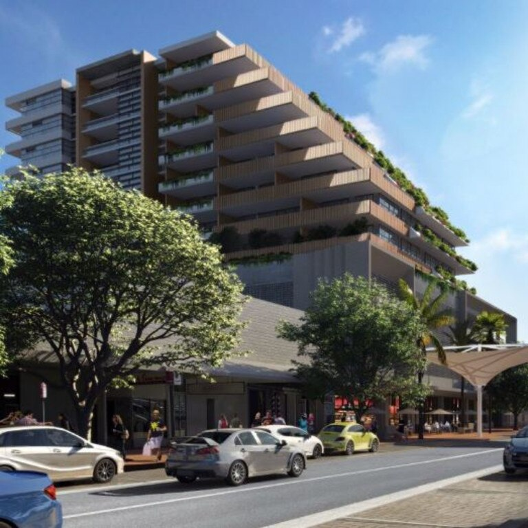 Artist's impression of C.ex Group's proposed highrise in the Coffs CBD. View from Harbour Dr.