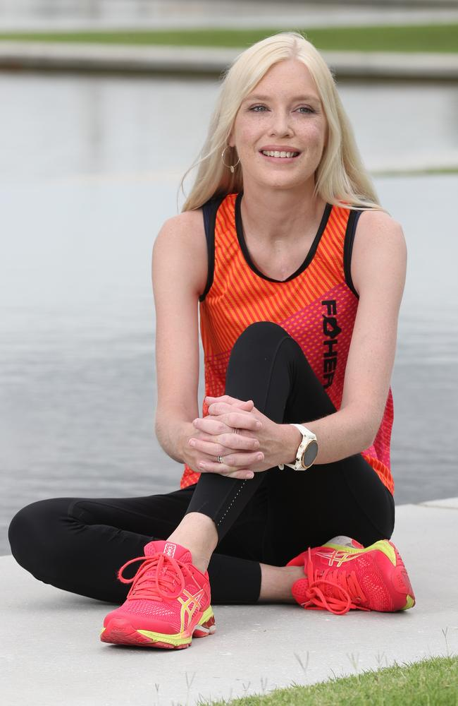 Kate Phillips, 35, had a double lung and heart transplant in 2013, two years later she completed her first triathlon, and now competes in half marathons, marathons and ironmen races, Newstead. Picture: Liam Kidston