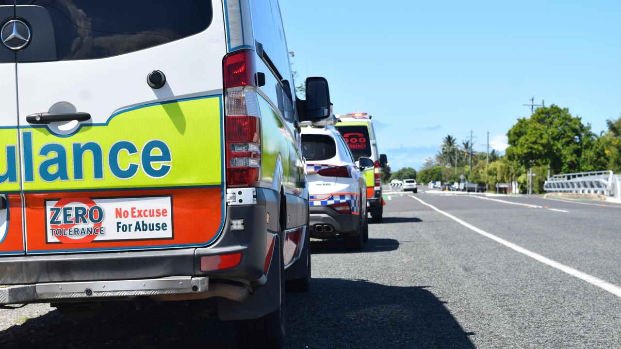 Emergency services are at the scene of a two-vehicle crash on the Ipswich Motorway.