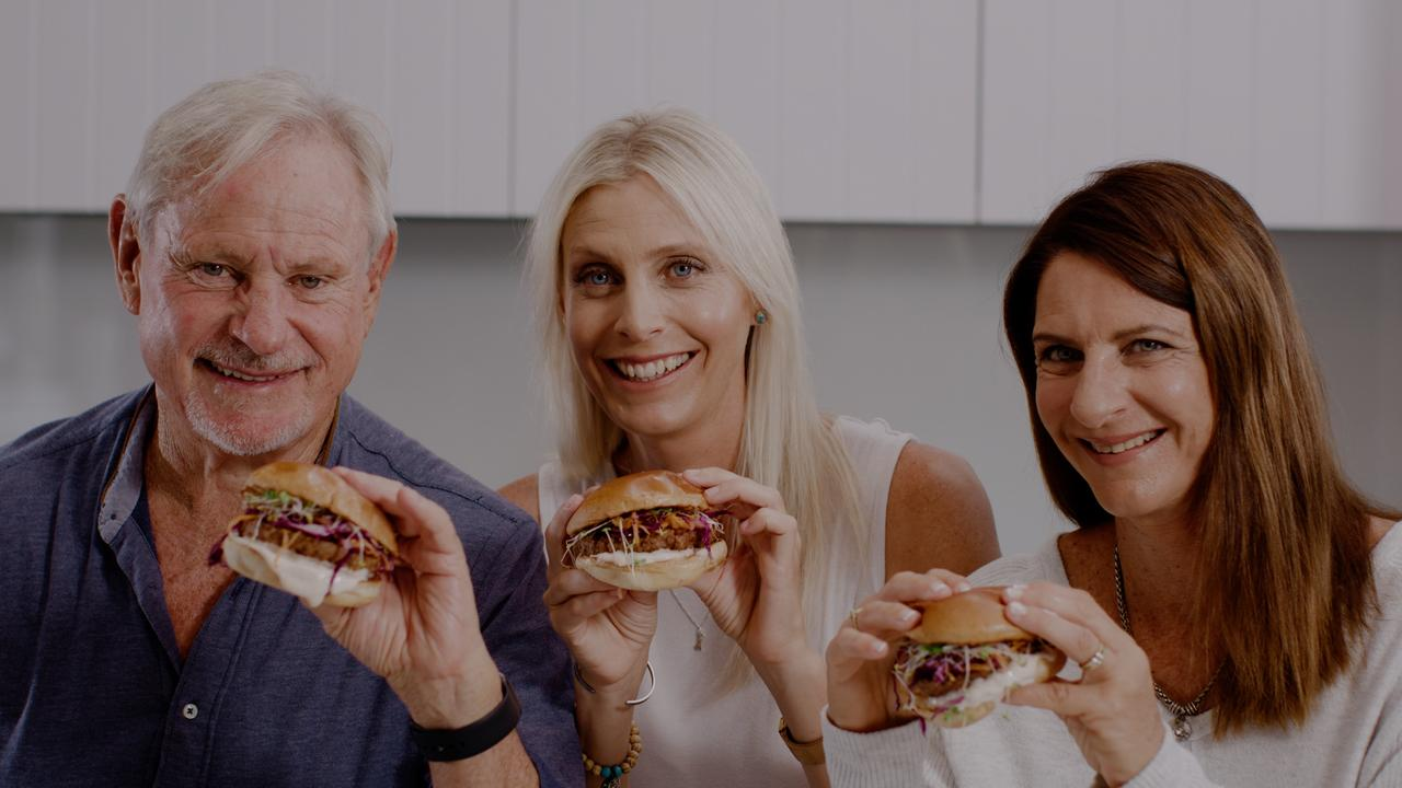 Wally Fry, Tammy Fry and Debbie Fry with their plant-based alternative for Australia Day.