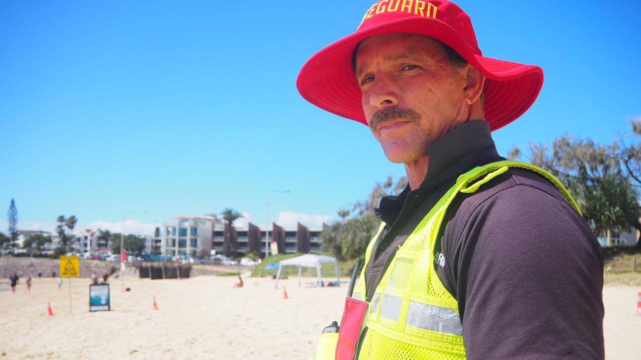 Lifeguard supervisor and Trent Robinson said a defibrillator potentially saved the life of a surfer at Dicky Beach on Friday morning. Picture: Tegan Annett