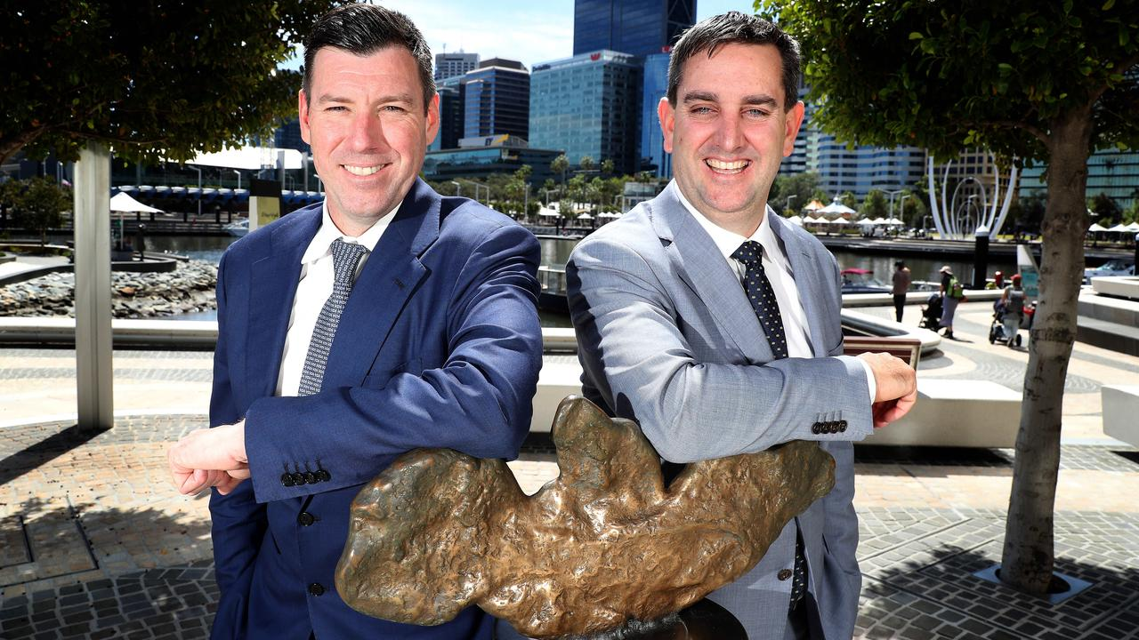 Northern Star executive chairman Bill Beament and Saracen managing director Raleigh Finlayson have been all smiles since announcing the 'merger of equals'. Picture: Colin Murty/The Australian