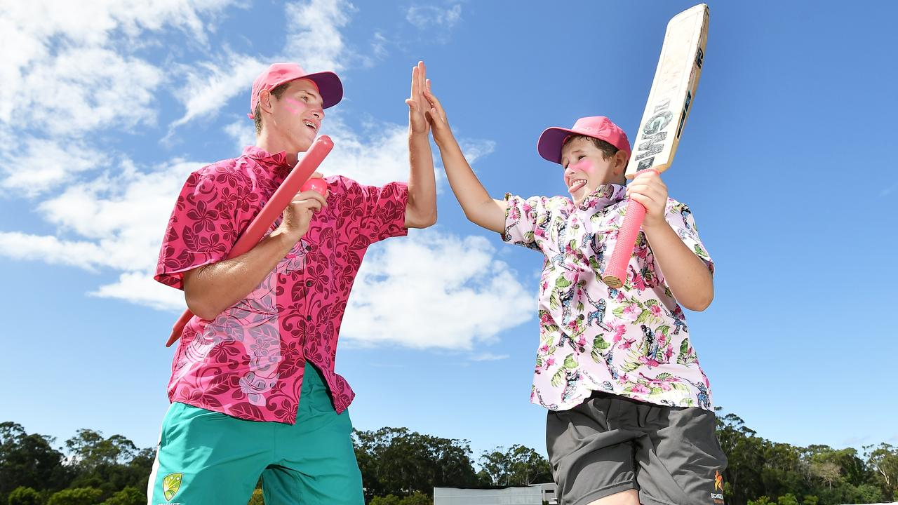 Blake, 12, and Mitch, 16, will help raise money for breast cancer at pink stumps day. Picture: Patrick Woods.