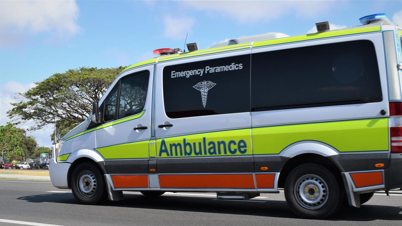 One person was hospitalised following a motorbike crash at Kenilworth this afternoon. Picture: Heidi Petith