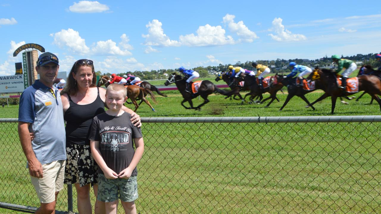 RACING TO THE FINISH: Jason Kielly, Jenni Kehlet and Reid Beckhouse at the 2021 Warwick Cowboys TAB Race Day.