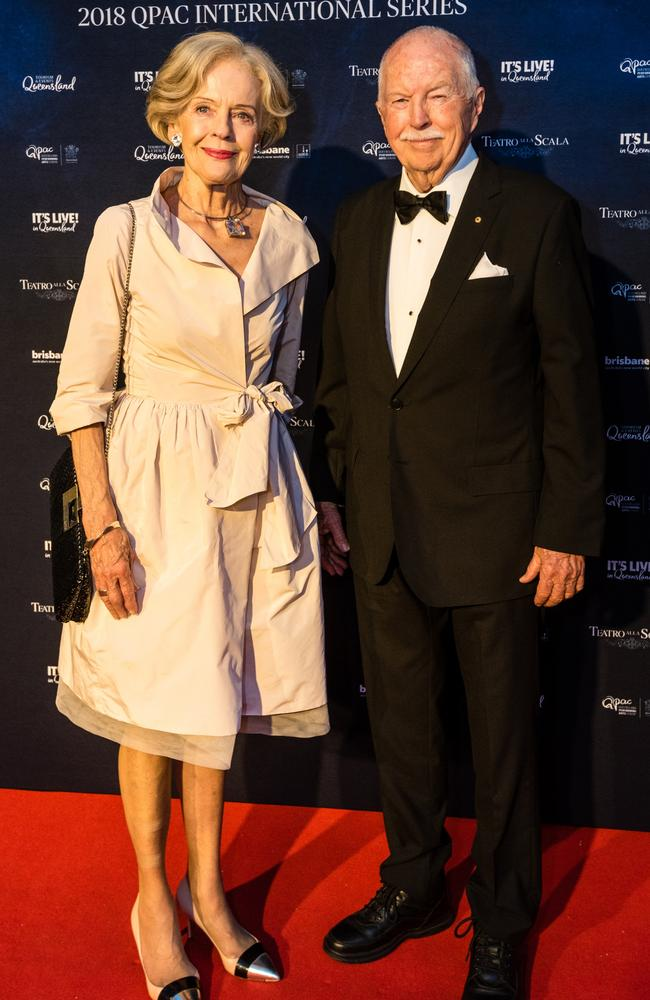 Michael Bryce (right) with wife Dame Quentin Bryce at QPAC in 2018.