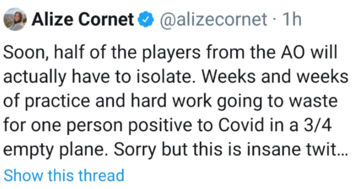 Alize Cornet's tweet, which she later deleted.
