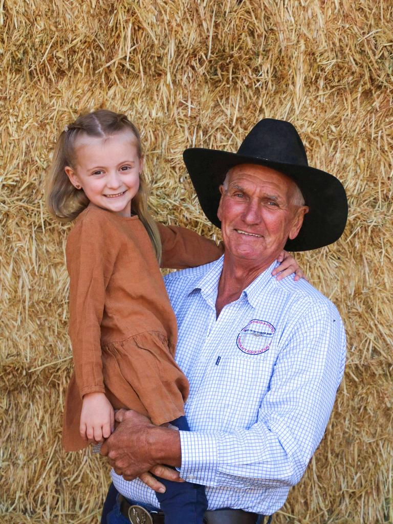 BRAVE GIRL: Evie Smith spends some quality time with her grandad Barry Standing as members of the Pittsworth community prepare to host the Ride for Baz's Evie event this weekend. Picture: Madeline Curr