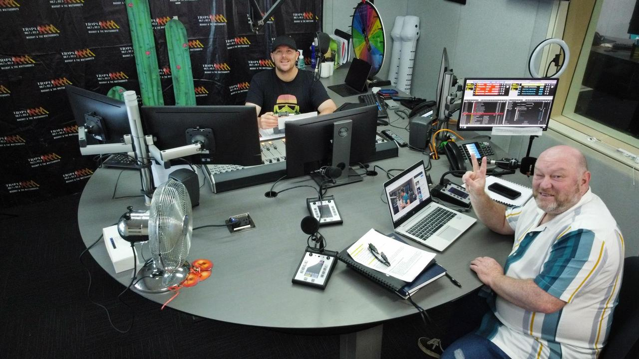 Jay Shipston and Dave Peters, of the Jay and Dave breakfast show on Triple M. You'll note Jay's side of the desk has all the buttons. Picture: Contributed