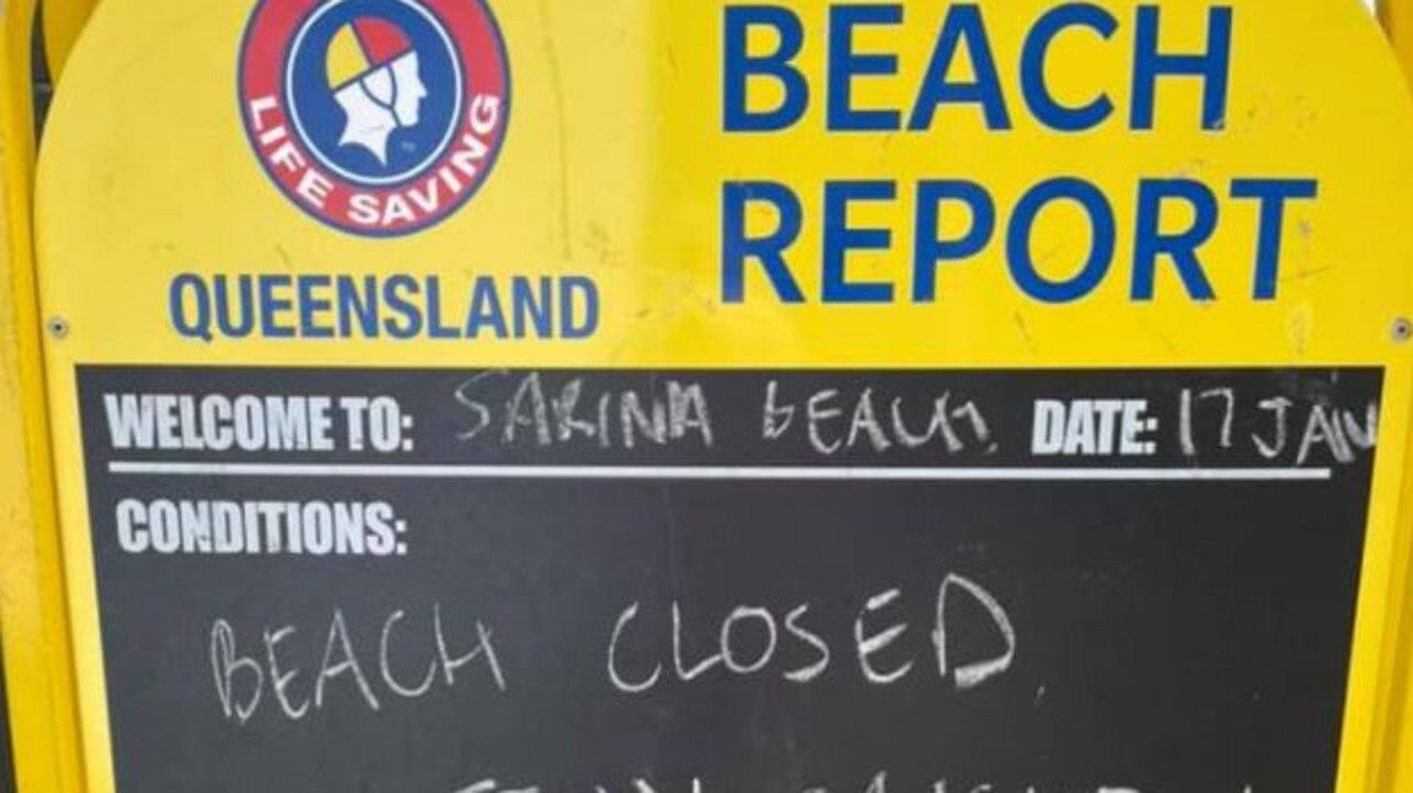 BEACH CLOSED: A sign at Sarina Beach. Picture: Sarina Surf Life Saving Club